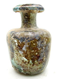 Ancient Roman Glass Collared Flask-  93x65 mm