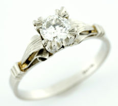 White gold cocktail ring set with a Natural Brilliant cut Diamond  of 0.60 ct (I/SI2). IGE certificate: