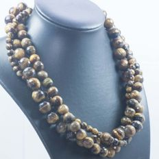 925/1000 Silver – 3-strand faceted tiger's eye necklace – Length: 45cm – No reserve.