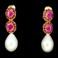 Silver earrings with natural Ruby and Baroque Pearl