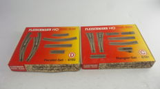 Fleischmann H0 - 6191/6192 - 2 Complete track sets - shunting set and parallel set with switches left/right and right/curved/buffer/uncoupling rails