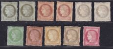 France 1872 - Composition with Yv#50/52 (two of each) and 52/57 (one of each)