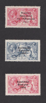 Ireland, 1922/1925 – Seahorse with overprint – Selection of Michel 10 I, 38 I or III and 39 II