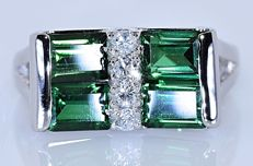 2.02 ct Green Tourmalines and Diamonds, designer ring - No reserve price!