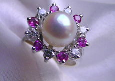 Ruby-Brilliant-Akoya pearl ring 585 white gold - 5.6 g