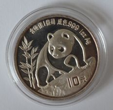 "China – 10 Yuan 1990 ""Panda"" 1 oz of silver."