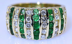 Emeralds and Diamonds, band ring - No reserve price!