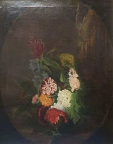 European School - 19th Century - A vase of flowers on a plinth