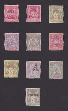 French Colonies 1892/1901 – Type Sage – Selection of better values on stock cards.
