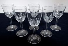 6 BACCARAT crystal white wine glasses, model EPRON 1916 catalogue