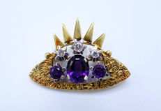 """Crown"" brooch with amethysts of 3.6 ct and brilliants of approx. 0.45 ct made of 14 kt / 585 white and yellow gold"