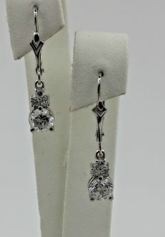 14 kt white gold earrings with diamonds 1.22 ct ***No reserve price ***