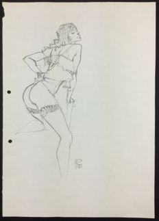 "Stano, Angelo - original illustration ""Donna alla Schiele"""