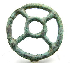 "Roman Bronze open-work Pendant - ""the Wheel of Fortune"" - 46 mm"