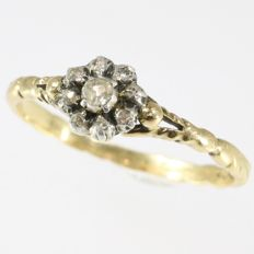 Vintage Antique Dutch style inspired gold ring with silver set diamonds - No reserve price!