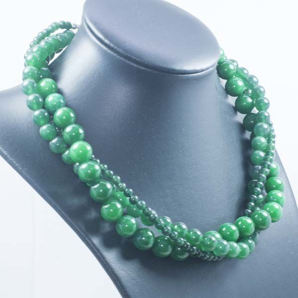 925/1000 silver - Necklace with three strands of emeralds - Length 45 cm