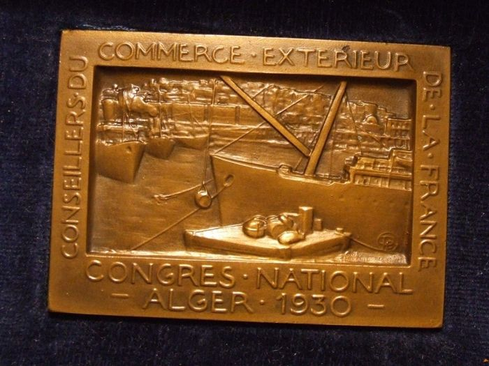 Algeria (colony) - Medal 'Alger, Congres National des Conseillers du Commerce Extérieur' 1930 by Albert Pommier in its original box - Bronze
