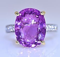 1.92 ct Pink Tourmaline with Diamond ring - No reserve price!
