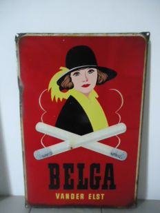 Enamelled plate for Belga cigarettes, 1950
