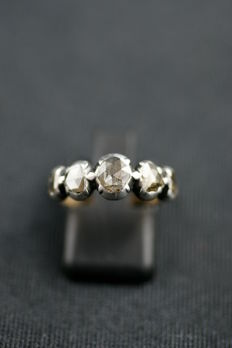 Antique band ring set with rose-cut diamonds