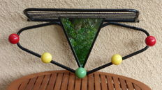 Manufacturer unknown – vintage coat rack with mirror and hat shelf.