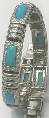 18 kt White gold bracelet with turquoises and brilliants of 1.5 ct approx, weight 26.9 g