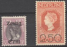The Netherlands 1919/1920 – Aid and Clearance edition, with image flaws – NVPH 103 P + 105 P