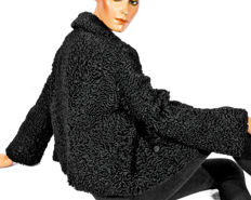 Stylish black Persian fur blazer curly lamb fur jacket