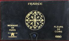 France – Paris coins – 1980 coins FDC (10 coins) including 50 Francs (silver)
