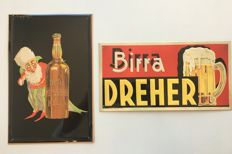 Lot of two Metal Plaques in relief of famous Italian beers -DESIGNER: G. Muggiani