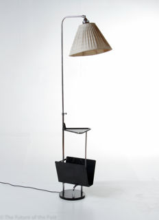 New Objectivity - designer unknown - height-adjustable floor lamp with fabric shade, integrated side table and literature rack