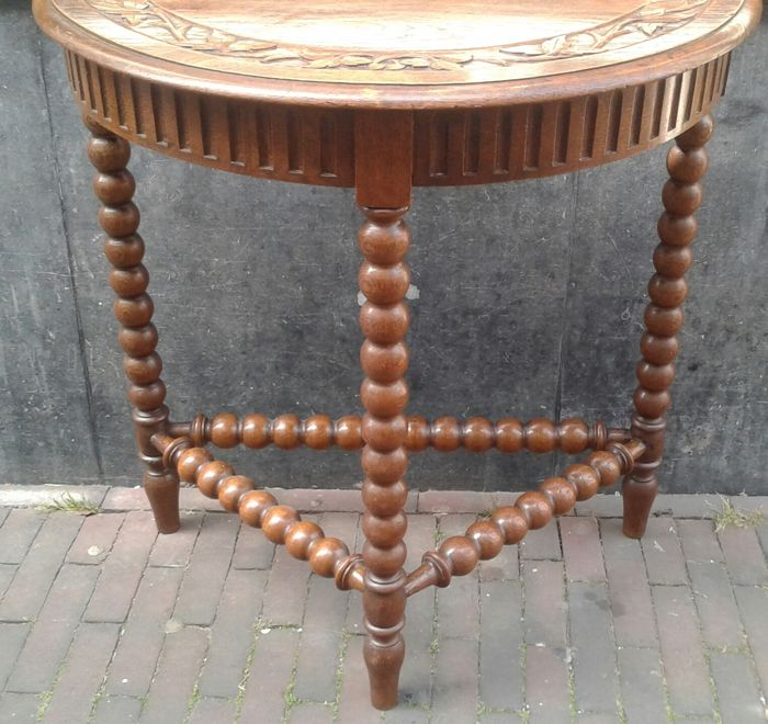 Half Round Hall Table With Bobbin Legs , First Half 20th Century