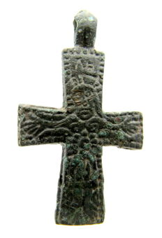 Medieval / Viking bronze cross pendant with Pseudo Jesus Christ - 39x23 mm
