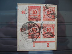 German Empire/Reich  – Michel 177 and Michel 181, service stamps D 75y and Michel 318 B in block of 4