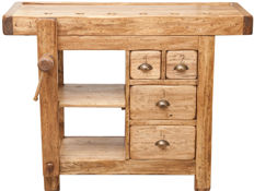 Country workbench in basswood with a natural finish