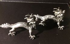 Pair of Chinese export silver dragon menu holders, by Wang Hing, Circa 1900