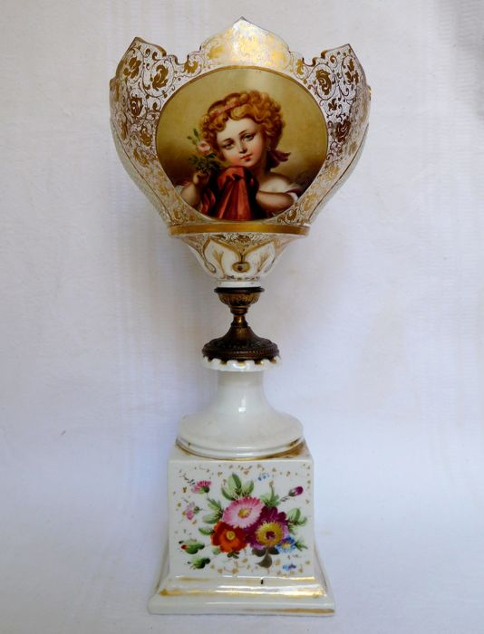 Spectacular Baccarat crystal cup and porcelain of Paris, France, Charles X period circa 1830