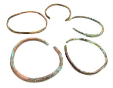 Lot of 5 Ancient Celtic Bronze Bracelets / Bangles - 43-53mm (5)
