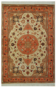 (Measurements: 150 x 100 cm) Authentic Original and EXTRAFINE Tabriz Rug (800,000 knots per sqm) with Authenticity Certificate from the Official Appraiser of the Years 1930-1950 - (Galleriafarah1970)
