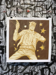 Dillon Boy - Gold Captain America - Graffiti Pop Art