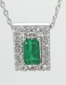 Pendant with a  natural 0.55  ct columbian  cut  green emerald  and 16 diamonds ***No minimum price***
