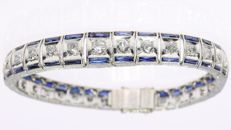 Platinum Art Deco bracelet with diamonds and sapphires, 1920