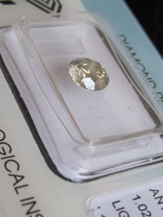 Natural Diamond Round Brilliant 1.02 Carat LIGHT GREY-YELLOW IGI-Seal