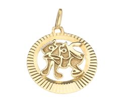 14 kt yellow gold pendant – Diameter 22 mm.