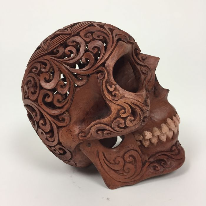 Hand carved human skull tribal style carving octagram