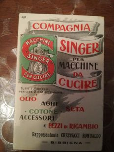 Singer sewing machine, advertising on musical opera from 1913 plus lot of 20 photo postcards from Rome, 1st series