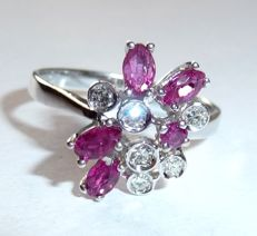 White gold ring made of 14 kt with 5 natural marquise rubies and 6 diamonds, ring size 56/17.8 mm