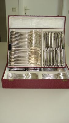 "Cutlery ""Solingen Silber 100""-84 pieces antique silver plated rococo Louis XIV style-Germany-1948-1956"