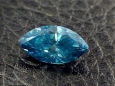 0.92ct GIA Fancy Vivid Green-Blue I1