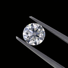 1.03 Ct. Natural F Color Round brilliant cut diamond.